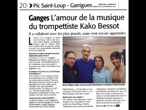 09122012 Journal MIDI LIBRE Ganges Hérault Interview Kako 2015
