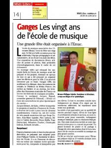 Article journal MIDI LIBRE Les 20 ans de l'EMAC Ganges 26062014
