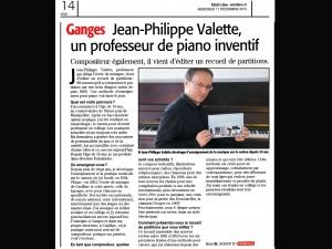 Jean Philippe Valette interview Journal MIDI LIBRE le 17 décembre 2014 www.jpvmusique.com